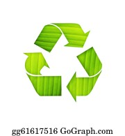 Ecological-Awareness - Recycle Symbol With Leaf Detail On Isolated Background