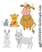 Goat-Cartoon - Set Cartoon Animals