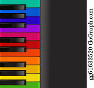 Color-Rain - Colorful Piano Keyboard On A Black Background