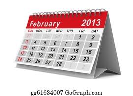 February - 2013 Year Calendar. February. Isolated 3d Image
