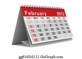 February - 2012 Year Calendar. February. Isolated 3d Image