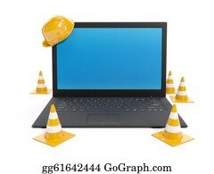 Repair - 3d Illustration: Protections For The Repair And Laptop On White Background