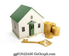 Skeleton-Key - 3d Illustration: Buying A Home, Real Estate Loan. Toy House With A Golden Key And A Group Of Gold Coins
