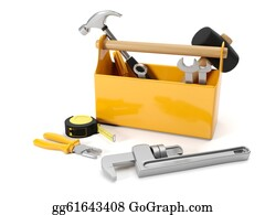 Repair - 3d Illustration: Repair Services. Tool Box On A White Background