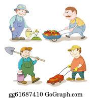 Lawn-Mower - Cartoon: Gardeners Work