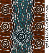 River - A Illustration Based On Aboriginal Style Of Dot Painting Depicting River