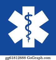 Cpr - Emergency Star White On Blue Background.