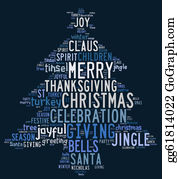 Blue-Bell - Christmas Tree Word Clouds In Blue Background