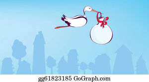 Stork - Stork And Baby Greeting Announcement Card