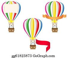 Basket - Hot Air Balloon And Blank Banner Illustration