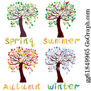 Cardinal-Bird - Set Of Season Trees In Childish Style Cartoon