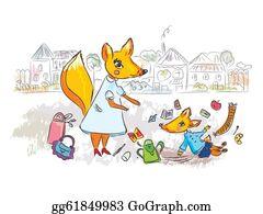 Sad-Child - Family Scene At The Street With Fox Cartoon