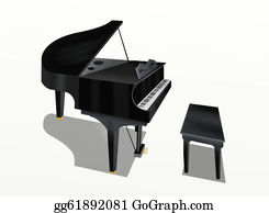 Music-Notes-On-Piano-Keyboard - Hand Drawing Of Grand Piano