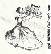 Music-Notes-On-Piano-Keyboard - Girl At The Piano Vintage Card