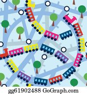 Funny-Toy-Train - Seamless Pattern With Funny Trains And Trees