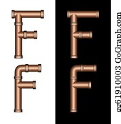 Letter-F - Copper Tubing Fittings 3d Letter F