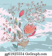 Vintage-Floral-Blue-Frame-Vector - Grunge Background With Flowers And Branches