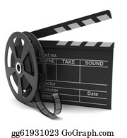 Movie-Production - Movie Clapper And Film Strip