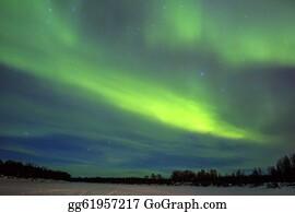 Astronomy - Northern Lights (aurora Borealis) Over Snowscape.