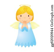 Baby-Jesus - Vector Cartoon Angel Girl With Golden Hair Isolated On White
