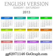 Months-Of-The-Year - 2013 Calendar English Version Sun - Sat