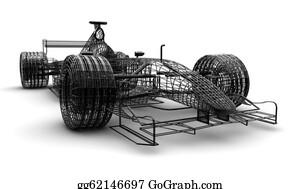 Formula-1-Racing-Car - Wireframe Formula 1 Car