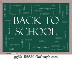 First-Day-Of-School - Back To School Word Cloud Concept On A Blackboard