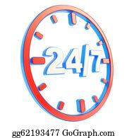 24-Hour - 24/7 Twenty Four Hour Seven Days A Week Emblem Icon