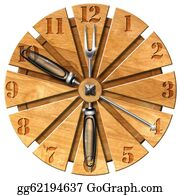 Lunch - Wooden Kitchen Clock