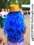 Wig - Golden Hat On A Blue Wig Of A Young