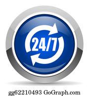 24-Hour - 24/7 Service Icon