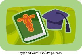 Medical-Textbook - Illustration Of A Grad Cap And Medical Journal