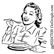 Lunch - A Black And White Version Of A Vintage Style Portrait Of A Woman Eating
