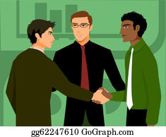 Multi-Ethnic-Group - Two Men Shaking Hands, Being Introduced By A Third Man