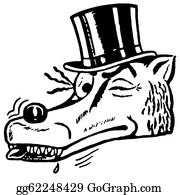 Con-Artist - A Black And White Version Of A Winking Wolf Wearing A Top Hat