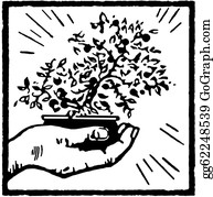 Bonsai - A Black And White Version Of A Print Of A Hand Holding A Bonsai Tree