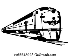 Black-White-Mode - A Black And White Version Of A Vintage Illustration Of A Speeding Train