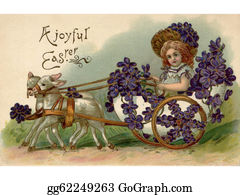 Lamb - A Vintage Easter Postcard Of A Girl Riding In A Wagon Full Of Violets Being Pulled By Two Lamb