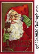 Beards - Vintage Christmas Card Of Santa Claus Making A Phone Call