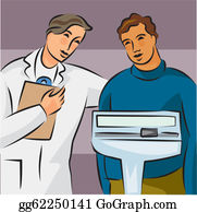 Overweight - Illustration Of A Doctor Weighing An Overweight Patient On A Scale