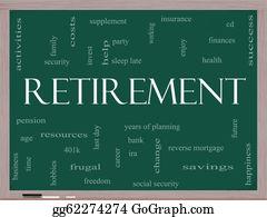 Retirement-Party - Retirement Word Cloud Concept On A Blackboard