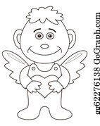 Babies-And-Toddlers-Silhouettes - Boy Angel With Valentine Heart, Outline