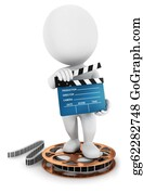 Movie-Production - 3d White People With Amovie Clapper
