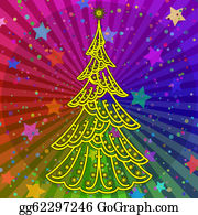 Fir-Tree - Christmas Tree On Rainbow Background