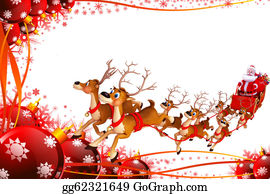 Christmas-Santa-Sleigh-And-Reindeer - Santa And Sleigh On Red Background