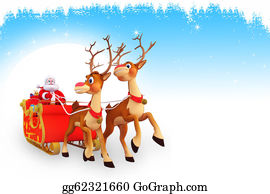 Blue-Bell - Santa And Sleigh On Blue Background
