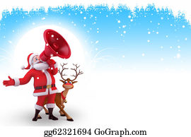 Blue-Bell - Santa With Loud Speaker And Reindee