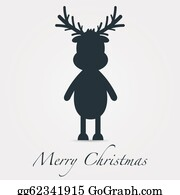 Reindeer-Christmas-Silhouettes - Reindeer Silhouette Black Merry Christmas Text