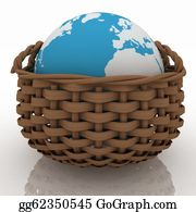 Basket - Wicker Basket Containing A Globe