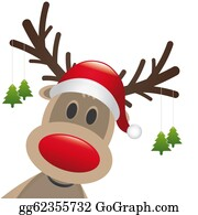 Antler - Reindeer Red Nose Hang Christmas Tree